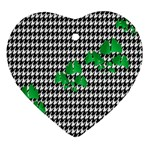 Houndstooth Leaf Heart Ornament (Two Sides)