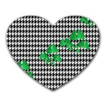 Houndstooth Leaf Heart Mousepads