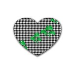 Houndstooth Leaf Rubber Coaster (Heart)