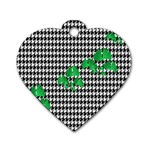 Houndstooth Leaf Dog Tag Heart (One Side)