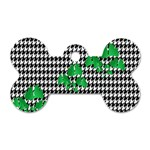 Houndstooth Leaf Dog Tag Bone (One Side)