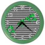 Houndstooth Leaf Color Wall Clock