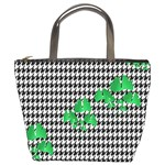 Houndstooth Leaf Bucket Bag