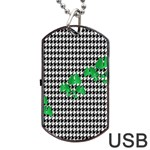 Houndstooth Leaf Dog Tag USB Flash (One Side)