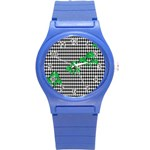Houndstooth Leaf Round Plastic Sport Watch (S)