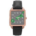 Houndstooth Leaf Rose Gold Leather Watch