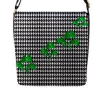Houndstooth Leaf Flap Closure Messenger Bag (L)