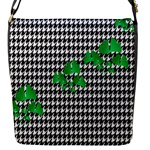 Houndstooth Leaf Flap Closure Messenger Bag (S)
