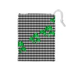 Houndstooth Leaf Drawstring Pouch (Medium)