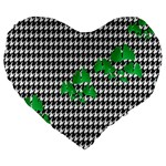 Houndstooth Leaf Large 19  Premium Flano Heart Shape Cushions