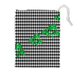 Houndstooth Leaf Drawstring Pouch (XL)