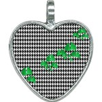 Houndstooth Leaf Heart Necklace