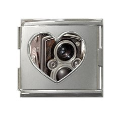 Rolleiflex camera Mega Link Heart Italian Charm (18mm) from ArtsNow.com Front