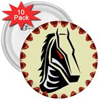Horse head 3  Button (10 pack)