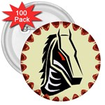 Horse head 3  Button (100 pack)