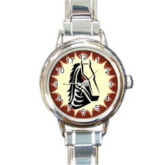 Horse head Round Italian Charm Watch from ArtsNow.com Front