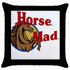 Horse mad Throw Pillow Case (Black) from ArtsNow.com Front