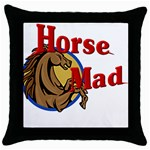 Horse mad Throw Pillow Case (Black)