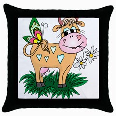 Cute cow Throw Pillow Case (Black) from ArtsNow.com Front