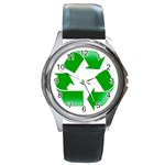 Recycle sign Round Metal Watch