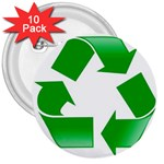 Recycle sign 3  Button (10 pack)