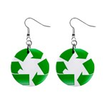 Recycle sign 1  Button Earrings