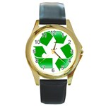 Recycle sign Round Gold Metal Watch