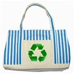 Recycle sign Striped Blue Tote Bag