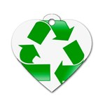 Recycle sign Dog Tag Heart (One Side)