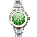 Green recycle symbol Round Italian Charm Watch