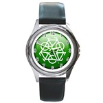 Green recycle symbol Round Metal Watch