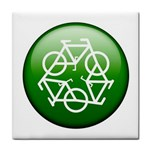 Green recycle symbol Tile Coaster