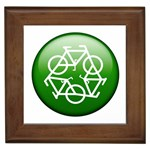 Green recycle symbol Framed Tile