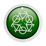 Green recycle symbol Ornament (Round)