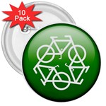 Green recycle symbol 3  Button (10 pack)