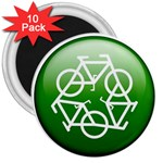 Green recycle symbol 3  Magnet (10 pack)