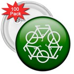 Green recycle symbol 3  Button (100 pack)