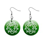 Green recycle symbol 1  Button Earrings