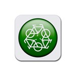 Green recycle symbol Rubber Coaster (Square)