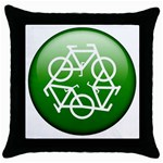 Green recycle symbol Throw Pillow Case (Black)