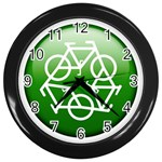 Green recycle symbol Wall Clock (Black)