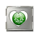 Green recycle symbol Mega Link Heart Italian Charm (18mm)