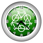 Green recycle symbol Wall Clock (Silver)