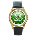 Green recycle symbol Round Gold Metal Watch