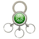 Green recycle symbol 3-Ring Key Chain