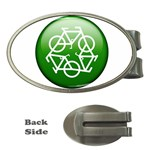 Green recycle symbol Money Clip (Oval)