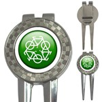 Green recycle symbol 3-in-1 Golf Divot