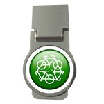 Green recycle symbol Money Clip (Round)