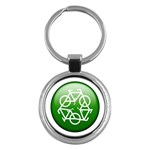 Green recycle symbol Key Chain (Round)