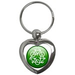 Green recycle symbol Key Chain (Heart)